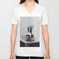 sewing V-neck T-shirts featuring Vintage Sewing Machine by KimberosePhotography