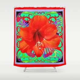 Italian  Style Design Red Amaryllis Abstract Shower Curtain