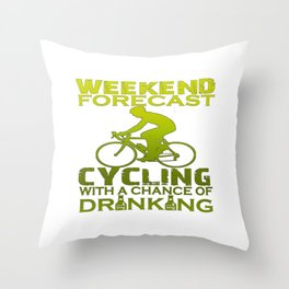 WEEKEND FORECAST CYCLING Throw Pillow