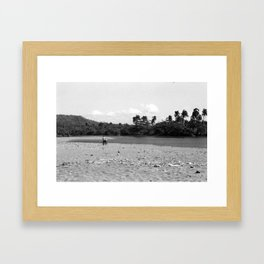 Pushing Bike Through Sand, Baracoa, Cuba Framed Art Print