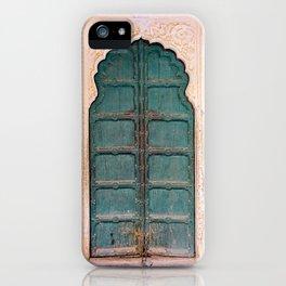 Antique door in India - Teal door, peach wall iPhone Case