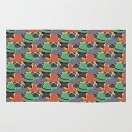 Hipster Pug Pattern Rug
