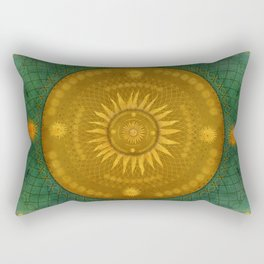 """Celestial Teal - Gold Ocher Mandala"" Rectangular Pillow"
