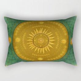 """""""Celestial Teal - Gold Ocher Mandala"""" Rectangular Pillow"""