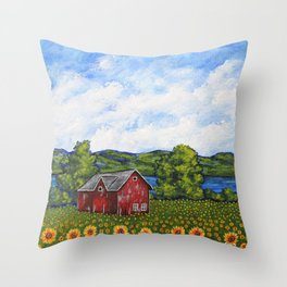 Liz's Sunflowers on Canandaigua Lake by Mike Kraus - art barn farm clouds sky new york ny upstate Throw Pillow