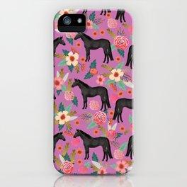 black beauty, mare, horse, horses, floral, florals, black horse, horse bedding, horse decor, cowgirl iPhone Case