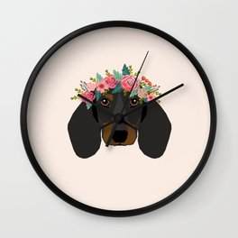 Dachshund floral crown dog breed pet art dachshunds doxie pupper gifts Wall Clock