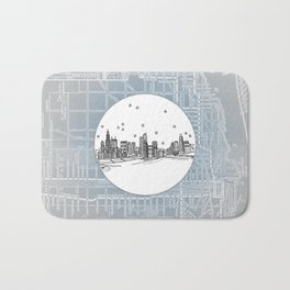 Chicago, Illinois City Skyline Illustration Drawing Bath Mat