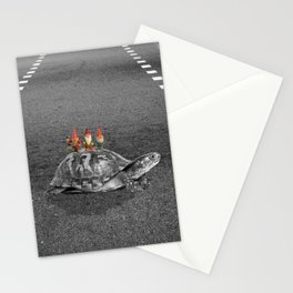 gnomes on a turtle Stationery Cards