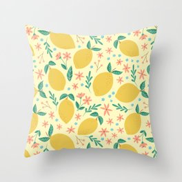 Mellow Yellow Lemons Throw Pillow