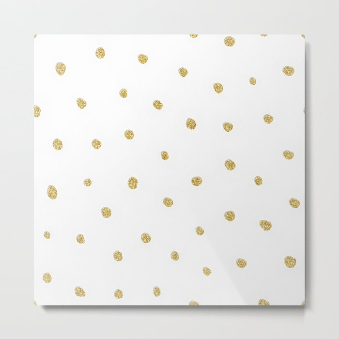 Golden touch I - Gold glitter small polkadots pattern- Confetti on #Society6 Metal Print