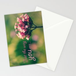 Spring Blooming Pink Flowers with Green Bokeh Background Stationery Cards