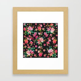 Boho Chic spring roses floral watercolor pattern Framed Art Print
