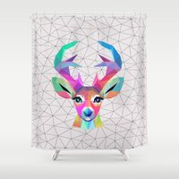 deer Shower Curtains featuring deer by mark ashkenazi