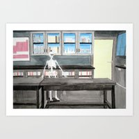 biology Art Prints featuring Biology Classroom by Merridee Parker Brown