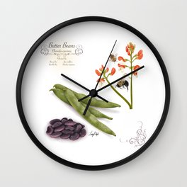 Butter Beans and Pollinators Wall Clock