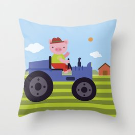 Pig on Tractor Throw Pillow