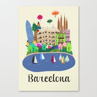 barcelona Canvas Prints featuring Barcelona  by uzualsunday