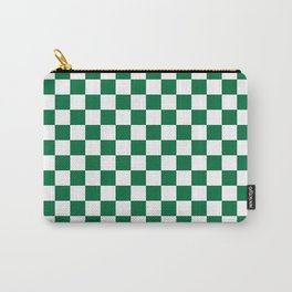 White and Cadmium Green Checkerboard Carry-All Pouch