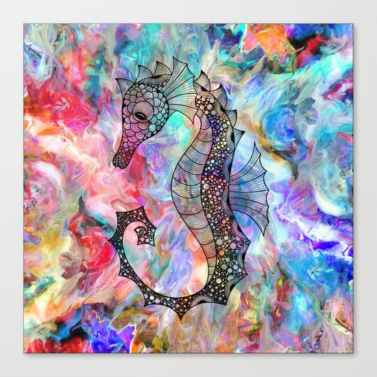 Drawn Seahorse on Colors Canvas Print