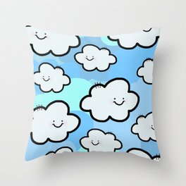 Cheery Cloud Cluster Throw Pillow