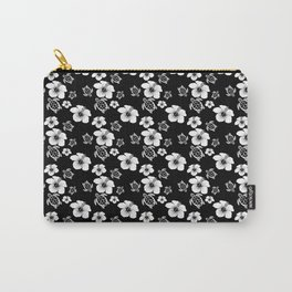 Black And White Floral And Turtle Hawaiian Pattern Carry-All Pouch