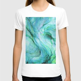 Sea Green Flowing Waves Abstract Ink Painting T-shirt