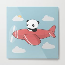 Kawaii Cute Panda Flying Metal Print