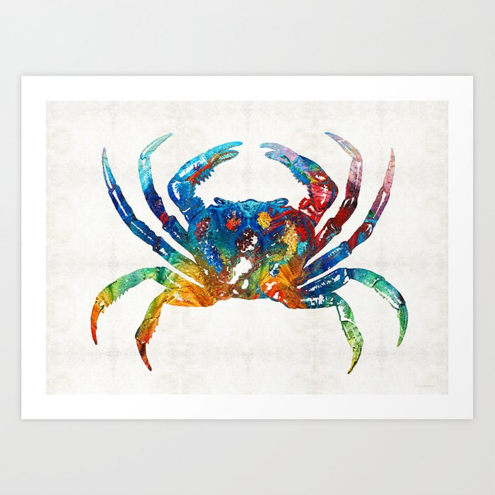 Colorful Crab Art by Sharon Cummings Art Print