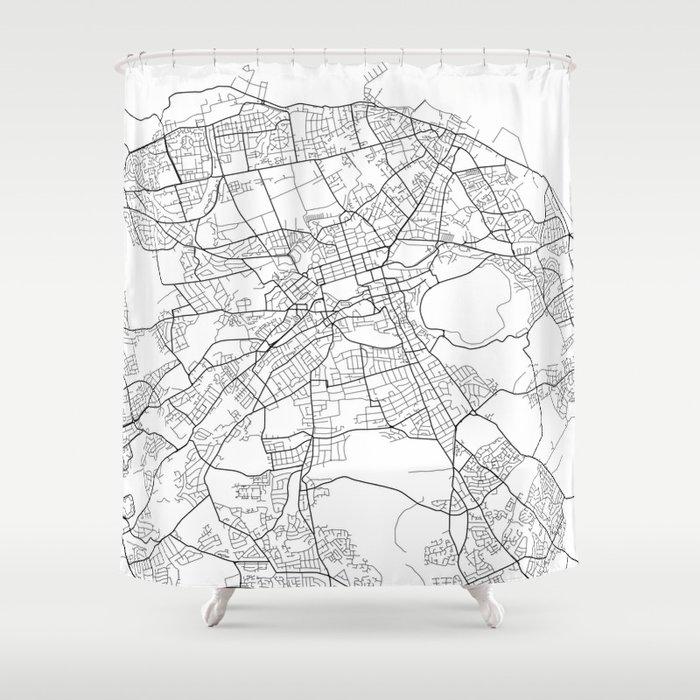 Edinburgh Map, Scotland - Black and White Shower Curtain