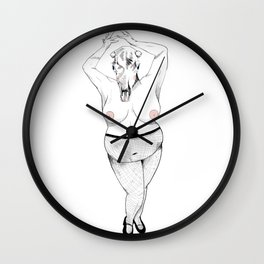 Woman with Cow Skull Wall Clock