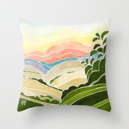 East Bay Devil Mountain in Summer Throw Pillow