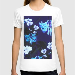 Blue Jungle Floral with Orchids and Jade Vine T-shirt