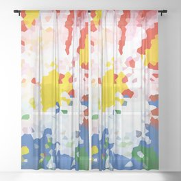 Abstract background red, blue and yellow colors Sheer Curtain