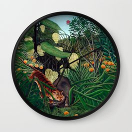 Henri Rousseau - Fight between a Tiger and a Buffalo Wall Clock
