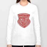 maori Long Sleeve T-shirts featuring Maori Mask Etching by patrimonio