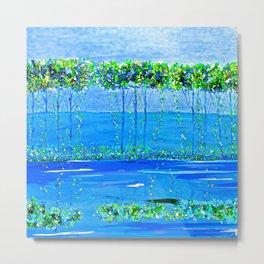Trees Skinny Blue Green Metal Print