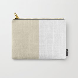 White and Pearl Brown Vertical Halves Carry-All Pouch