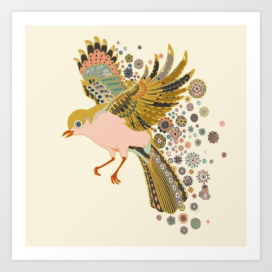 Orange stocking bird Art Print