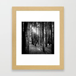 between the uprights Framed Art Print