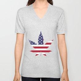 Cannabis in American Flag Unisex V-Neck