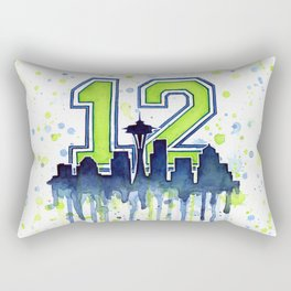 Seattle 12th Man Art Seattle Skyline Space Needle Rectangular Pillow