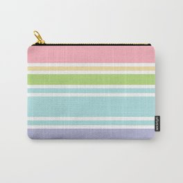 PreppyPatterns™ - Sporty Multi-stripe - peachy pink, sand, pistachio green, robin's egg blue, mist Carry-All Pouch