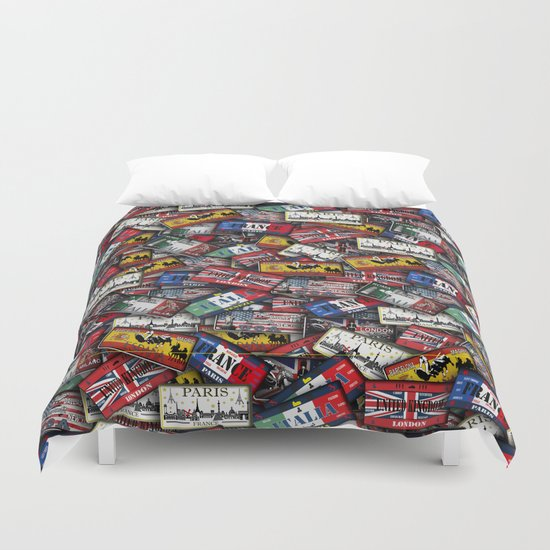 country plates Duvet Cover