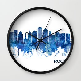 Rochester New York Skyline Blue Wall Clock
