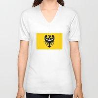 poland V-neck T-shirts featuring dolnoslaskie region poland country flag by tony tudor