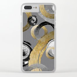 Modern Abstract Golden Rings Black and White Swirl Circles Clear iPhone Case