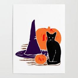 Witch Cat Pumpkin Woodcut Halloween Design Poster