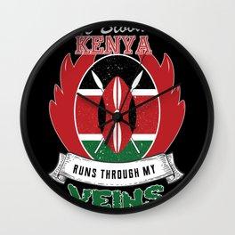 kenya Blood runs through my Veins Wall Clock
