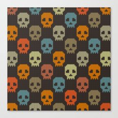 Knitted skull pattern - colorful Canvas Print